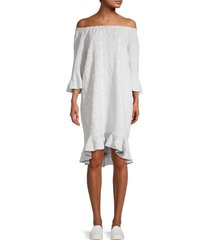 saks fifth avenue women's printed off-the-shoulder linen shift dress - silver - size xl