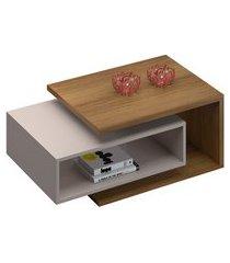 mesa de centro retangular diva madeira e off white