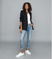 reiss larsson - double breasted twill blazer in navy, womens, size 14