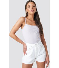 na-kd raw hem high waist denim shorts - white