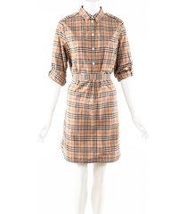 burberry vintage check beige cotton belted shirt dress beige/multicolor sz: s