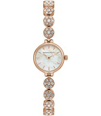 classic rose goldtone stainless steel, mother-of-pearl & crystal bracelet watch