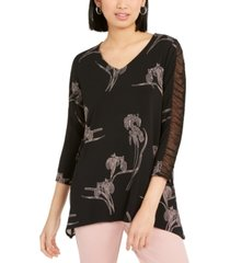alfani floral-print ruched-sleeve top, created for macy's