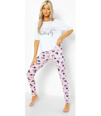 tall pyjama set met vlinder t-shirt en leggings, lilac