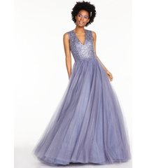 glamour by terani juniors' beaded tulle gown