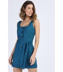 macaquinho de linho feminino com bolsos e faixa para amarrar alça larga azul