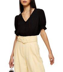 women's topshop morgan ruffle trim peplum top, size 8 us (fits like 6-8) - black