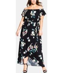 city chic trendy plus size donatella printed off-the-shoulder maxi dress