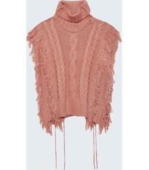motivi mantella in maglia con trecce e frange donna rosa