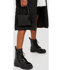 nly shoes perfect lace boot flat boots shiny black