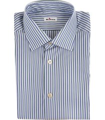man regular fit shirt with triple multicolor thin stripes