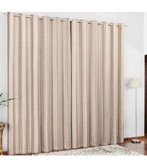 cortina 2 metros califórnia cáqui listras com 1 peças - valle enxovais