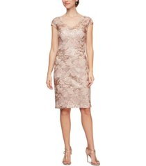 alex evenings sequinned lace sheath dress
