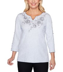 alfred dunner riverside drive embroidered stud-sleeve top