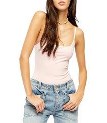 women's free people basique strappy sleeveless bodysuit, size medium - pink