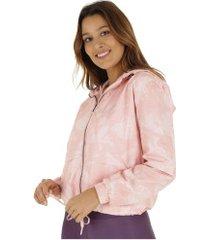 jaqueta corta-vento com capuz oxer ajustável rose - feminina - rosa claro