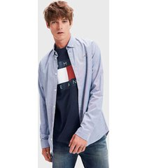 camisa tommy jeans tjm stretch oxford shirt azul - calce slim fit