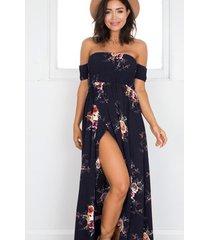 vestido casual generico playa estampada de gasa - azul oscuro