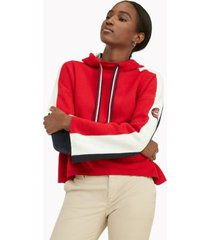 tommy hilfiger women's hoodie sweater scarlet colorblock - xs