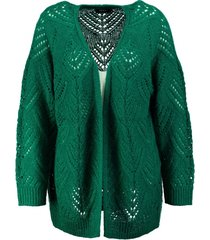 only wat langer stevig groen grofgebreid vest