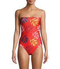 carolina k women's kuna leaf-print one-piece swimsuit - red foliage - size xs