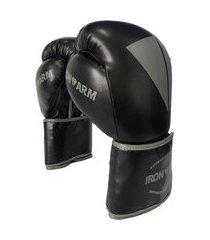 luva de boxe premium 14 oz preto e cinza iron arm .