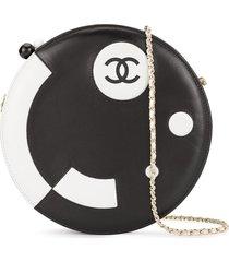 chanel pre-owned 2003-2004 cc round shoulder bag - black