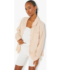 oversized blouse met textuur, sand