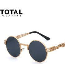 luxury metal sunglasses men round sunglass steampunk coating glasses vintage ret