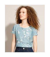 camiseta de algodão estampada floral manga curta decote redondo azul