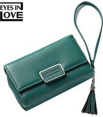 billetera mujeres- monedero de la borla de la borla de-verde