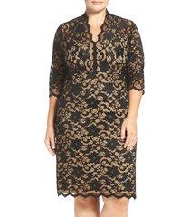 plus size women's karen kane scalloped v-neck stretch lace dress, size 0x - black
