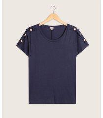 camiseta cuello redondo con botones en hombro