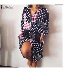 zanzea mujer vintage manga larga botones abajo fiesta de verano camisa larga vestido mini vestido -azul marino