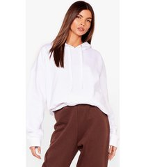 womens a big believer oversized pullover hoodie - white