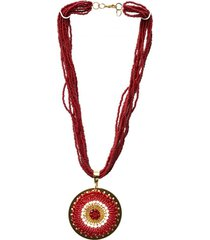 collar mostacillas largo dije imperial burdeo bijulovers