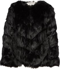 oria faux fur jacket outerwear faux fur svart by malina