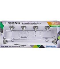 kit de acessórios para banheiro aquainox com 6 peças cromado