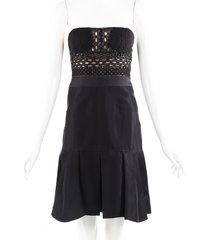 j. mendel black silk beaded strapless dress black sz: xs