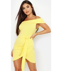 off the shoulder wrap detail bodycon dress, yellow