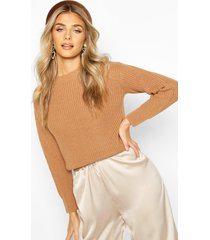cropped fisherman sweater, toffee