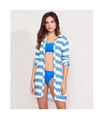 saída de praia chemise curta listrada manga longa azul
