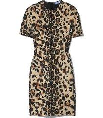 multicolor panel dress in natural leopard