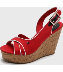 sandalia rojo tommy hilfiger