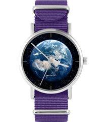 zegarek - ziemia - fiolet, nylonowy