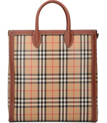 burberry check fabric tote