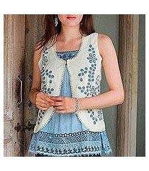 cotton blend vest, 'bohemian bouquet' (india)