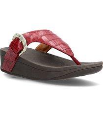 lottie croco toe-thongs shoes summer shoes flat sandals röd fitflop