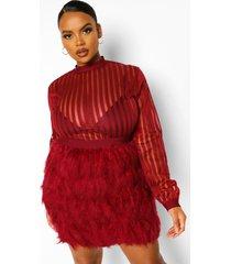 plus gestreepte mesh bodycon jurk met veren, berry