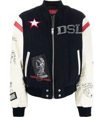 diesel graphic-print varsity jacket - blue